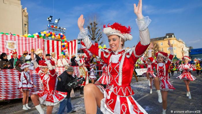 Tthe Procession of happy people parade in Cottbus