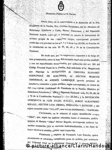 An image of a document, printed in the Argentine press, purported to show that Nisman intended to seek the arrest of the president and her foreign minister.