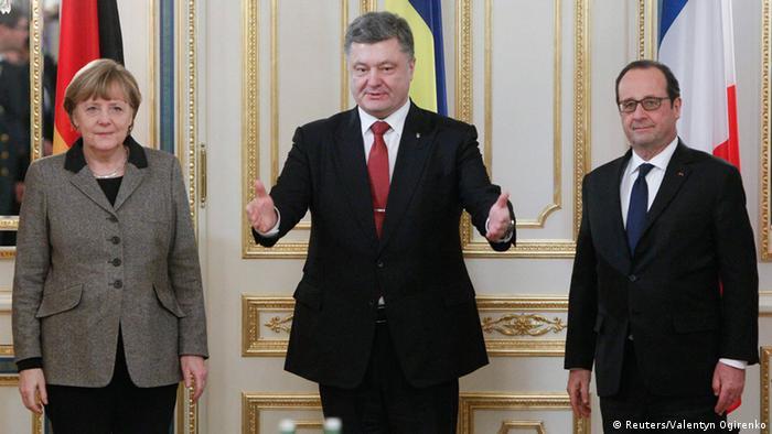 Ангела Меркель, Петр Порошенко и Франсуа Олланд в Киеве