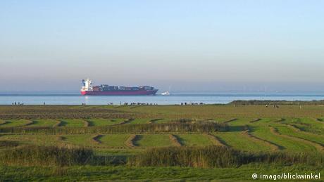 Feederschiff auf der Elbe