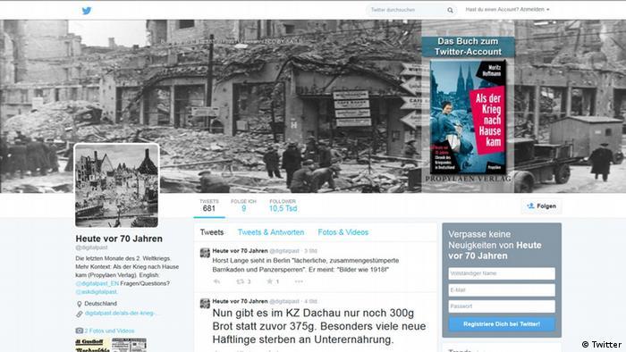 Страница проекта Сегодня, 70 лет назад в Twitter