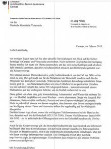 El comunicado en cuestión, emitido hace pocos días por la embajada de Alemania en Caracas, Venezuela.