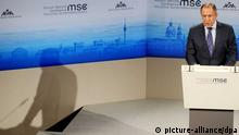Der russische Außenminister Sergej Lawrow bei der 51. Sicherheitskonferenz im Hotel Bayerischer Hof
