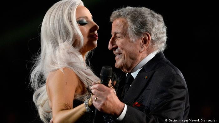Lady Gagy dancing on stage with Tony Bennett (Getty Images/Kevork Djansezian)