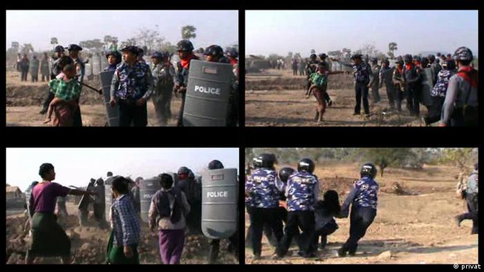Myanmar Zwangsräumung Polizeigewalt beim Dorf Ohn Thone Pin