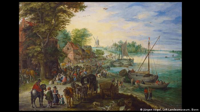 Ян Брейгель Старший. Рыбный рынок на берегу реки