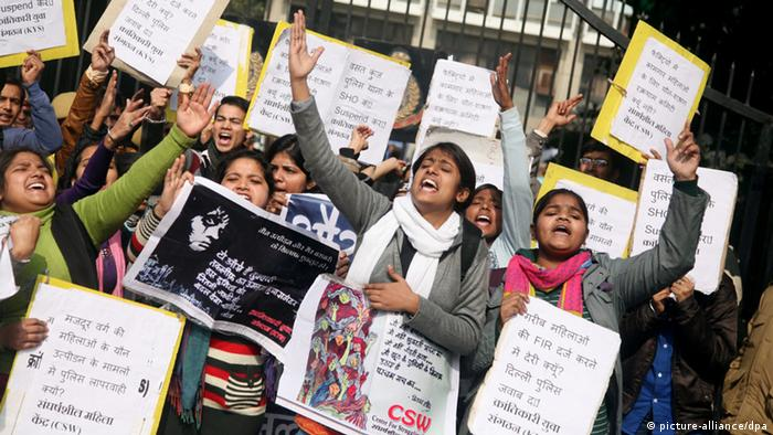 Indian women protesting against sexual violence