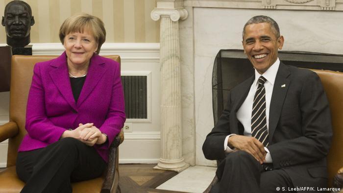 Анґела Меркель та Барак Обама під час зустрічі в Білому домі у лютому 2015 року