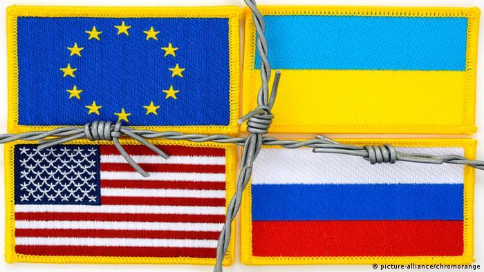 Symbolbild Beziehungen USA Russland Ukraine EU