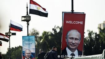 Kairo Fahnen Besuch Putin