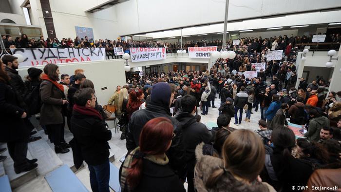 Studentenproteste in Skopje, Mazedonien