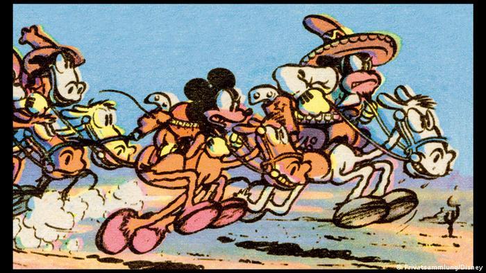 Bildergalerie Ausstellung Going West!, Floyd Gottfredson (1905–1986): Mickey Mouse (im Comic ab 1930) Sonntagsseite des Sunday Mirror vom 23. April 1933