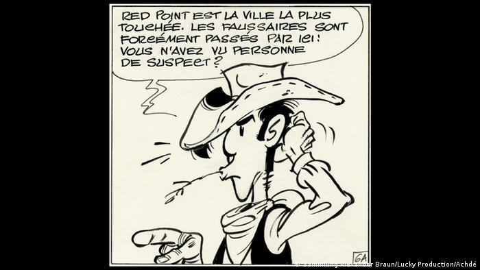 Bildergalerie Ausstellung Going West!, Achdé (d. i. Hervé Darmenton, geb. 1961): Lucky Luke (seit 1946) Lucky Luke gegen Pinkerton