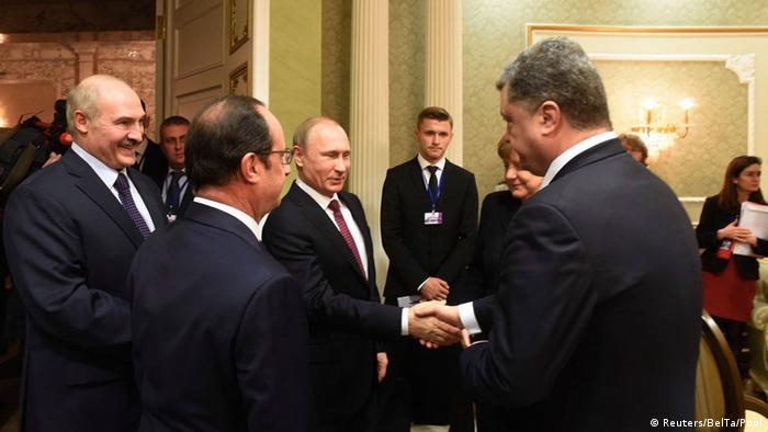 Presidents Putin and Poroschenko meeting in Minsk in 2015