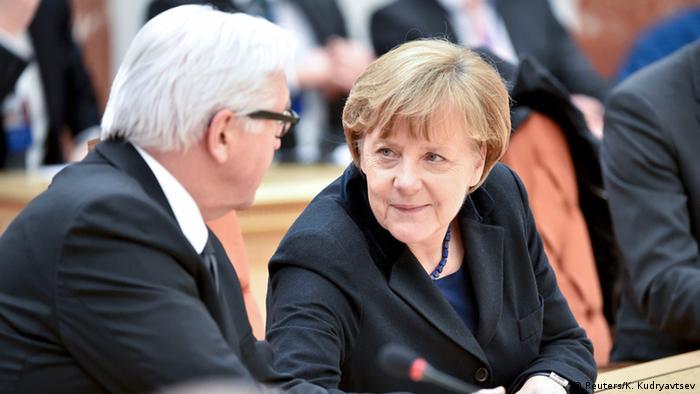 Ukraine Konferenz in Minsk Merkel und Steinmeier