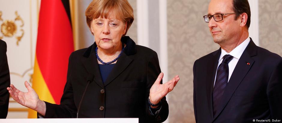 Angela Merkel e François Hollande em Minsk