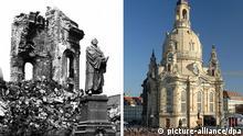 ARCHIV - Die Kombo zeigt Trümmerreste der bei Bombenangriffen im Februar 1945 zerstörten Frauenkirche mit dem Denkmal des Reformators Martin Luther am Neumarkt in Dresden (Sachsen)(s/w-Archivbild vom Juli 1971) und das ab 1994 wieder errichtete Gotteshaus am Tag der feierlichen Weihe am 30.10.2005. Knapp drei Monate vor Ende des Zweiten Weltkriegs legten britische und amerikanische Bomber am 13. und 14. Februar 1945 Dresden in Schutt und Asche. Foto: dpa (zu dpa-KORR «Im Feuersturm gefangen: Erinnerungen an die Dresdner Bombennacht» vom 12.02.2015) +++(c) dpa - Bildfunk+++