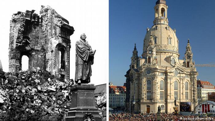 Дрезден. Ліворуч - у лютому 1945 року. Праворуч - у наші дні