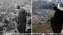 Die Bildkombo vom 12.02.2015 zeigt links von dem bekannten Fotografen Richard Peter sen. den Blick vom Rathausturm nach Süden mit der Skulptur Bonitas (Allegorie der Güte) auf die zerstörte Stadt Dresden, aufgenommen 1945 und rechts zur Gegenüberstellung den Blick am 12.02.2015 ebenfalls vom Rathausturm in Dresden (Sachsen). Vor allem die alliierten Luftangriffe vom 13. und 14. Februar 1945 führten zur weitgehenden Zerstörung der Stadt. Foto: Deutsche Fotothek/Richard Peter sen. und Arno Burgi/dpa (ACHTUNG: Honorarfrei - Nur zur redaktionellen Verwendung im Zusammenhang mit der aktuellen Berichterstattung über den 70. Jahrestag der Zerstörung und mit vollständiger Nennung der Quelle Deutsche Fotothek / Richard Peter sen./dpa)