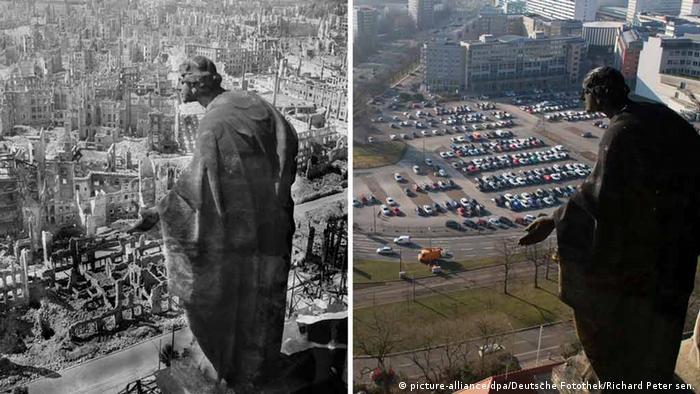 Дрезден. Слева - в феврале 1945 года. Справа - в феврале 2015 года. Источник: Deutsche Fotothek / Richard Petersen./dpa