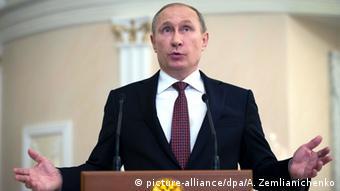 Der russische Präsident Putin auf der Friedenskonferenz in Minsk (Foto: EPA)