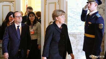 Ангела Меркель и Франсуа Олланд в Минске 12 февраля