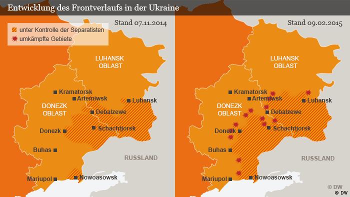 Karte Grenzverlauf umkämpfte Gebiete in der Ost-Ukraine Deutsch