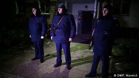 Ukrainian police guarding buildings (Photo: Filip Warwick)