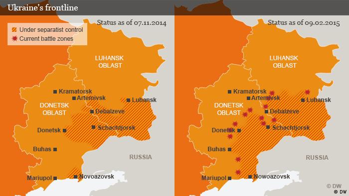Karte Grenzverlauf umkämpfte Gebiete in der Ost-Ukraine Englisch