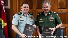 13. Feb. 2015 2571750 02/12/2015 Defense Minister Sergei Shoigu (right) and Nicaragua's Armed Forces Commander General Julio Cesar Aviles after signing several documents on the two countries' defense and military technical cooperation. Vadim Savitskii/RIA Novosti
