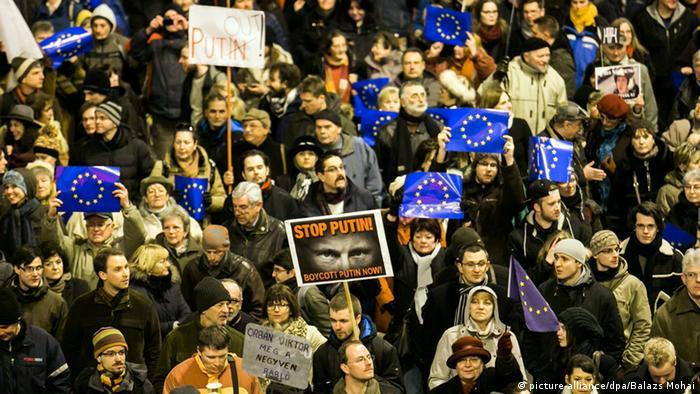 Ungarn Budapest Protest Putin