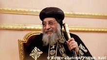 Französischer Verteidigungsminister Le Drian mit Koptischem Papst Tawadros II