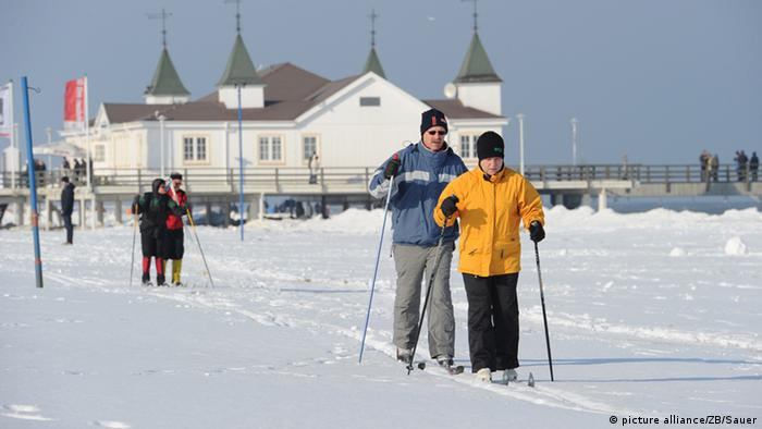 Cross country skiing on Usedom in the Baltic Sea