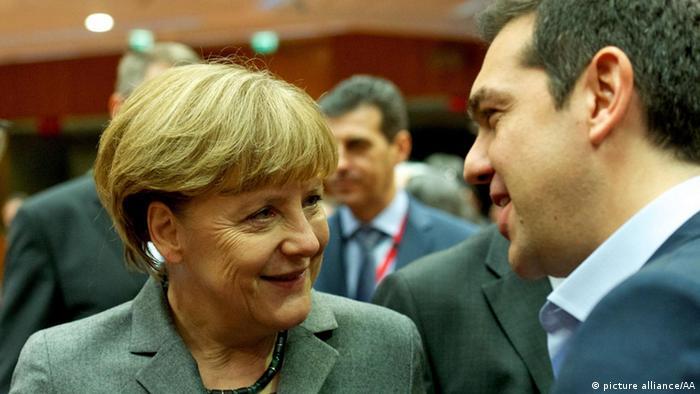 Merkel und Tsipras beim EU-Gipfel in Brüssel am 12. Februar 2015
