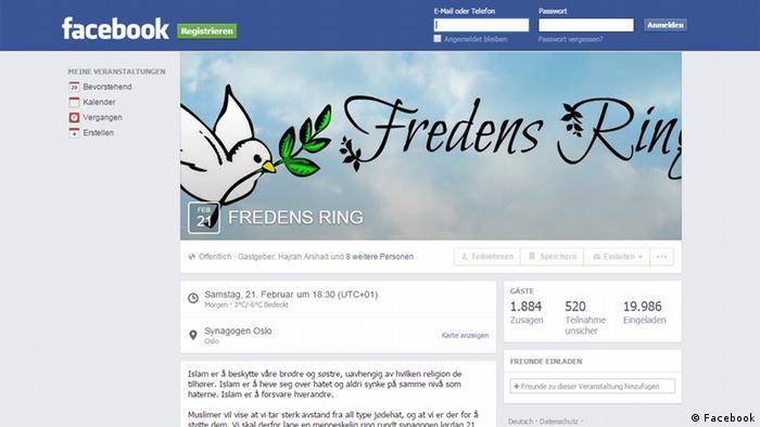 Screenshot der Seite Fredens Ring aus Norwegen