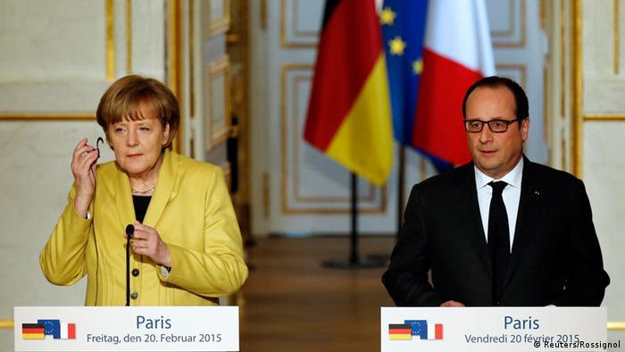Анґела Меркель і Франсуа Олланд під час прес-конференції в Парижі 20 лютого