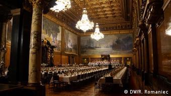 Зал, где проходят приемы Matthiae-Mahl в гамбургской ратуше
