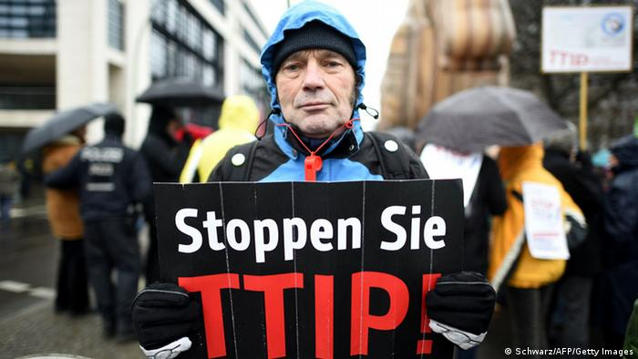 TTIP protester in Berlin