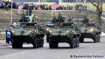Tanks at military parade in Narva