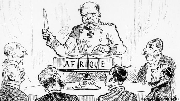 French caricature (from 1885): German chancelor Bismarck divides the African continent among the colonial powers (AKG/Picture Alliance)