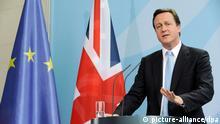 FILE - British Prime Minister David Cameron attends a press conference at the Federal Chancellery in Berlin, Germany, 21 May 2010. Photo: Rainer Jensen/dpa (zu dpa «EU-Referendum: Cameron schlägt Warnungen aus Brüssel in den Wind» vom 20.10.2014) +++(c) dpa - Bildfunk+++