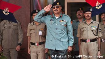 Director General of Pakistani Rangers (Sindh) Karachi, Major General Rizwan Akhtar (C) salutes during a guard of honor prior to a meeting at India's Border Security Force (BSF) headquarters in New Delhi on July 2, 2012 (Photo: PRAKASH SINGH/AFP/GettyImages)