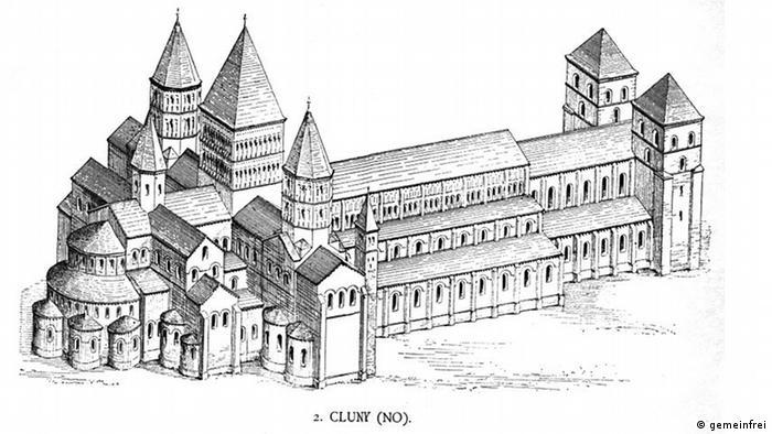 Аббатство Клюни на рисунке 1887 года