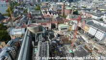 Bauarbeiten auf dem Areal der zerstörten Altstadt in Frankfurt am Main