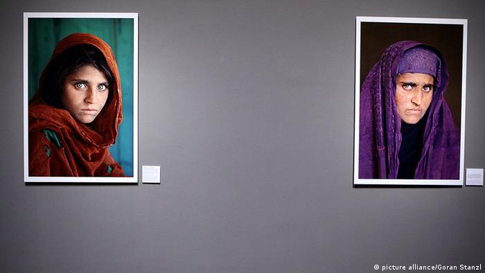 Two images of the Afghan girl photographed by Steve McCurry