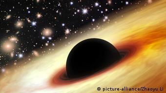 Schwarzes Loch in kosmischer Dämmerung