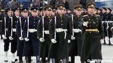 Auf dem Bild: Parade der National-Armee litauen. Foto: Yantschis Vitold / DW im Februar 2015