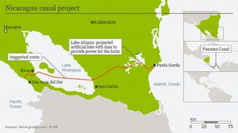 Infografik Nicaragua-Kanal Karte Englisch