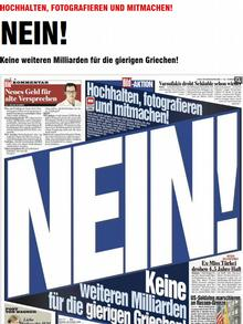A screenshot of an article from Germany's Bild newspaper stating No more billions for greedy Greeks
