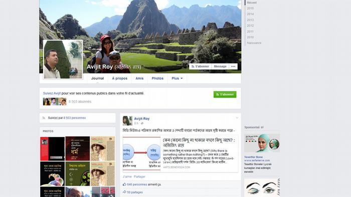 Screenshot Facebook Profil Avijit Roy
